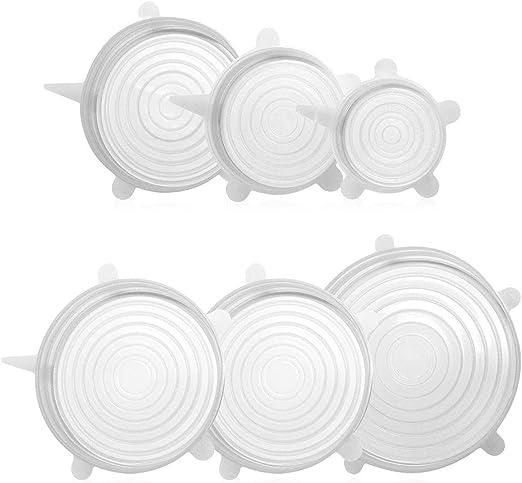Tapas elásticas de silicona transparente, reutilizables, para ...
