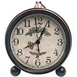 "5.5"" Classic Retro Clock,JUSTUP European Style Vintage Silent Desk Alarm Clock Non Ticking Quartz Movement Battery Operated , HD Glass Lens, Easy to Read (SZ01)"