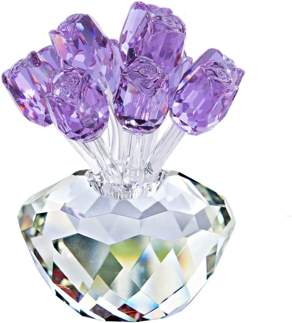 H&D Purple Crystal Rose Bouquet Flowers Crystal Figurines Collectibles Ornament Gifts