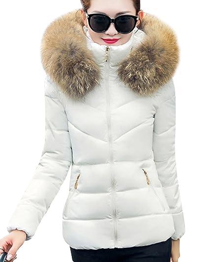 Veste matelassé à capuche en fourrure dense