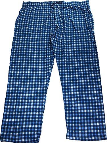 Hanes Mens ComfortSoft Cotton Printed Knit Lounge Pants (X-Large, Blue Plaid)