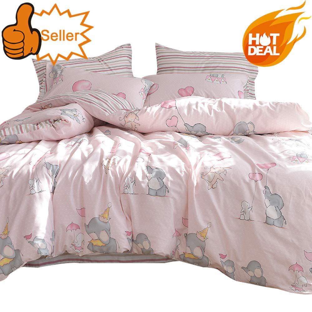 OTOB Queen Full Elephant Rabbit Print Duvet Cover Sets for Kids Teens Pink 100% Cotton Reversible Soft 3 Pieces New Cartoon Animals Kids Bedding Duvet Cover Child Striped Bedding Sets, Queen/Full