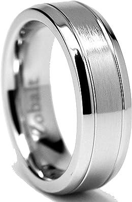 Cobalt Grooved Center Polished Shiny Beveled Edge 7mm Wedding Band Ring 12 Size