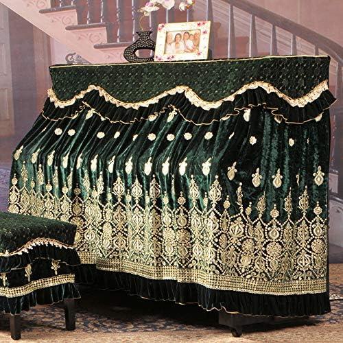 ピアノダストカバー スツールカバー付きアイスシルク韓国フリース刺繍ピアノのフルカバーの生地レース刺繍防塵衣 (色 : 緑, サイズ : 76x36cm)