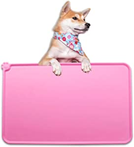 QAZWER Dog Cat Food Mat Waterproof Silicone Pet Feeding Mat with Edges Lip Dish Placemat for Bowl Food and Water Pink