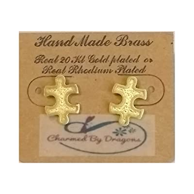 Charmed By Dragons Autism Awareness Gold Puzzle Piece Stud Earrings in Gift Box: Toys & Games