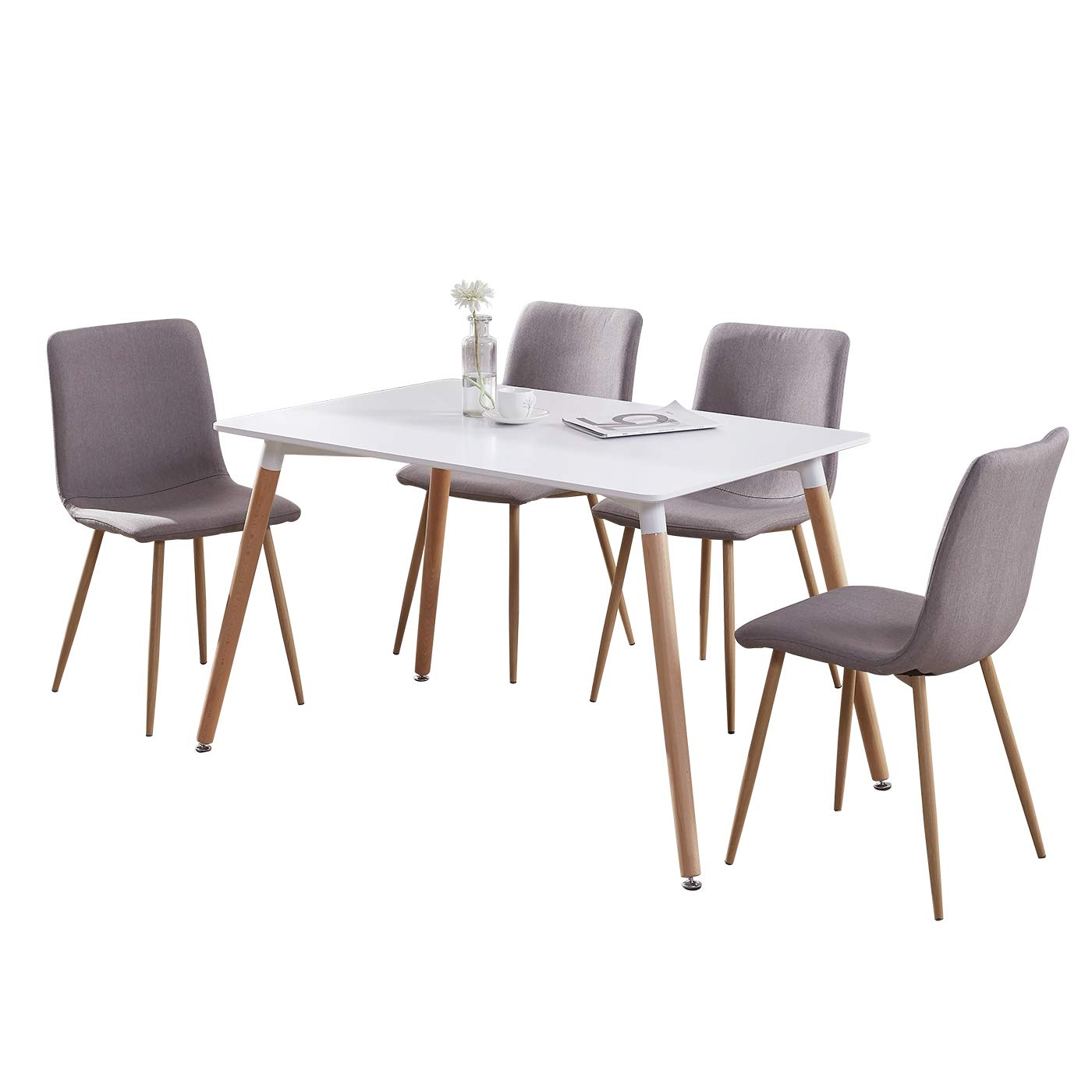 GIZZA Wood Rectangular Dining Table with 4 Retro Metal Chairs Set for Dining Kitchen Breakfast Office Lounge Restaurant Inspired Designer (Brown Sand)