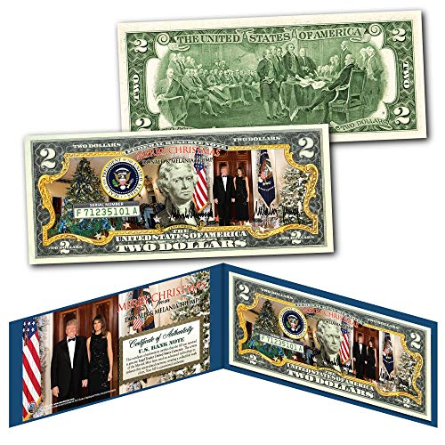Donald & Melania Trump WHITE HOUSE Presidential MERRY CHRISTMAS Genuine $2 Bill (Christmas Bill Dollar)