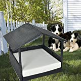 LEAPTIME Pet House Outdoor Rattan Puppy Home Indoor Patio Pet Dogs House w/Roof Black Wicker Pet Bed w/Cushion-Beige