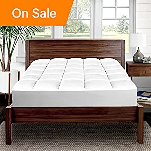 Bare Home Pillow-Top Premium Mattress Pad - 1.5 Inch Cooling Down Alternative Polygel Filled Microplush Super-Soft Hypoallergenic Topper (King)