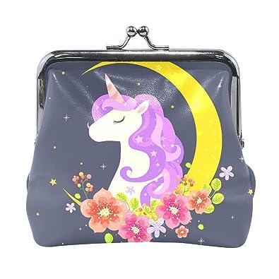 Amazon.com: Unicornio con luna y flores, monedero de cuero ...