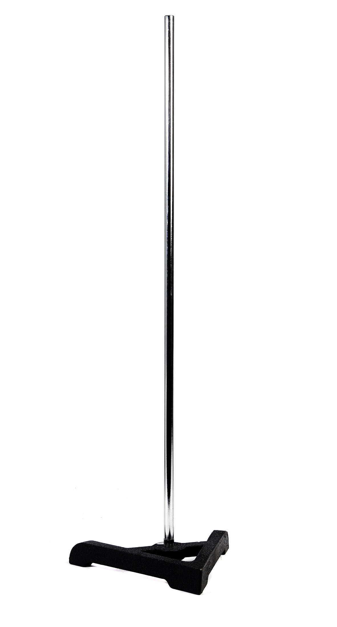 American Educational Cast Iron Support Ring Stand with Triangular Base, 7-3/4'' Legs, 7/16'' Diameter x 23'' Length Rod Size