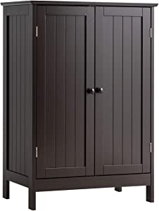 Tangkula Bathroom Floor Cabinet, Wooden Floor Storage Cabinet, Living Room Modern Home Furniture Free Standing Storage Cabinet, 23.5x14x34 inches (Brown)