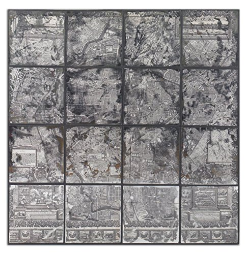 Mirrored Paris Map Wall Art | Large Silver Vintage Style French Artwork by Uttermost