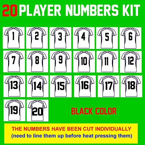 Team Pack Numbers,8 Tall,1-20 consecutively(31 Pieces) Heat Transfer Vinyl Numbers,for Sports T-Shirt Jersey Football Baseball,Iron On,t-Shirt,Same Your time & Money(Style A)(Black)