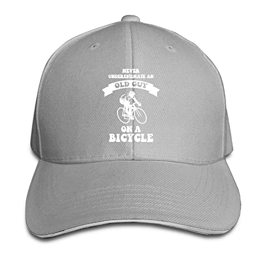 Never Underestimate an Old Guy On A Bicycle Sandwich Hats Baseball Cap Hat  Snapback Hat Dad 3ce1619bac85