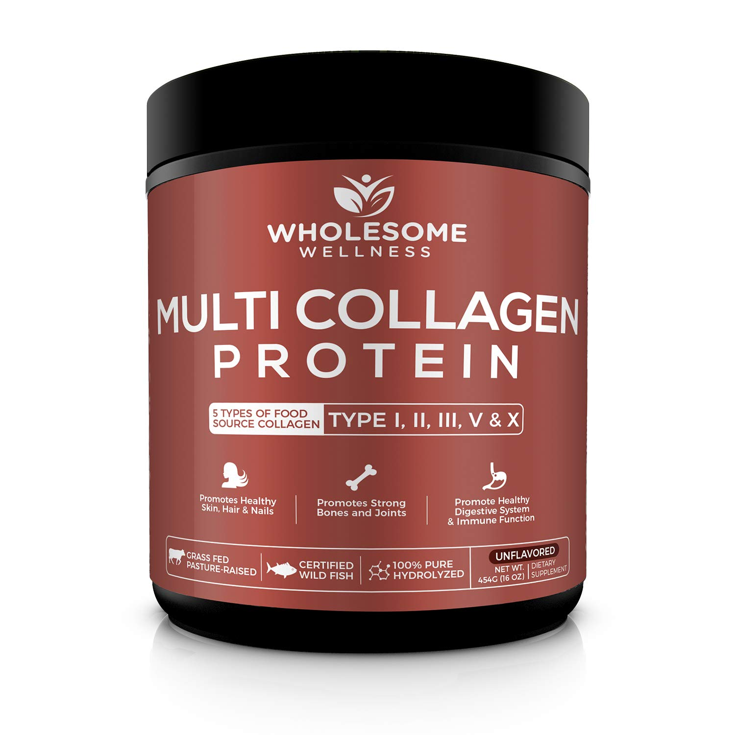 Multi-Collagen Protein Powder Hydrolyzed - Type I, II, III, V, X - Grass-Fed All-in-One Super Bone Broth + Collagen - Premium Quality Blend of Grass-Fed Beef, Chicken, Wild Fish and Eggshell Collagen by naturulse
