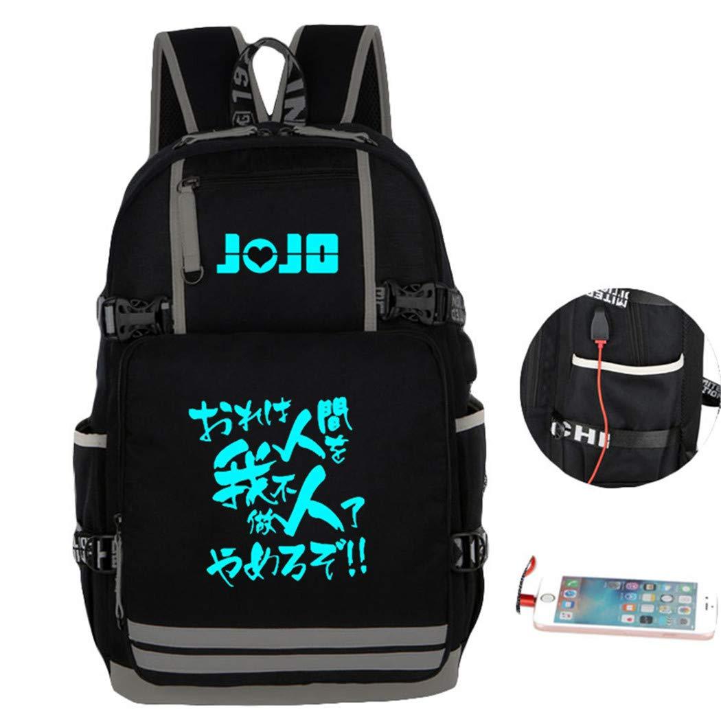 Cosstars Lumineux JoJo's Bizarre Adventure Anime Sac ¨¤ Dos Cartable Laptop Backpack avec USB Charging Port pour ?Tudiant