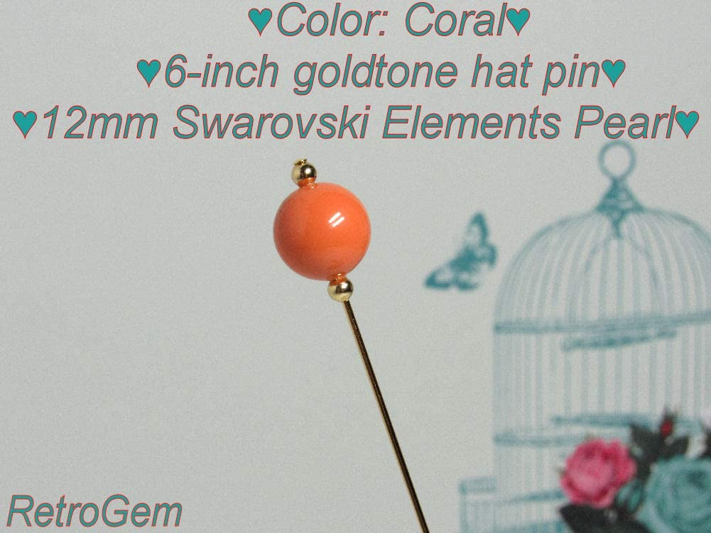 RetroGem 12mm Pearl Gold Tone Hat Pin Made with Swarovski Elements Pearl Coral