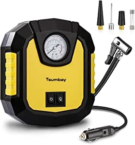 Portable Air Compressor, Tsumbay DC 12V Mini Air Compressor Pump to 150 PSI, Tire Inflator with Gauge, Carring Case, LED Lighting, 3 Nozzle Adapters, Auto Tire Pump for Cars, Bicycles and Basketballs