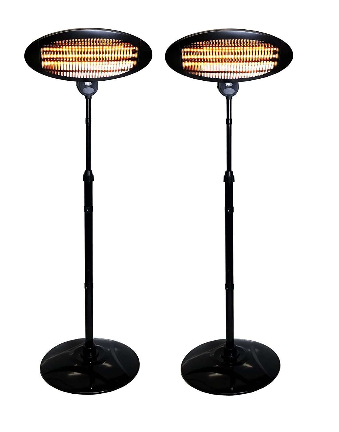 Set Of 2 Heaters 2kW Freestanding Electric Quartz Garden Patio Indoor Outdoor Heaters - 3 Power Settings, Adjustable Height, Adjustable Angle Head Plus Safety Cut Off Switch Hamble Kingavon