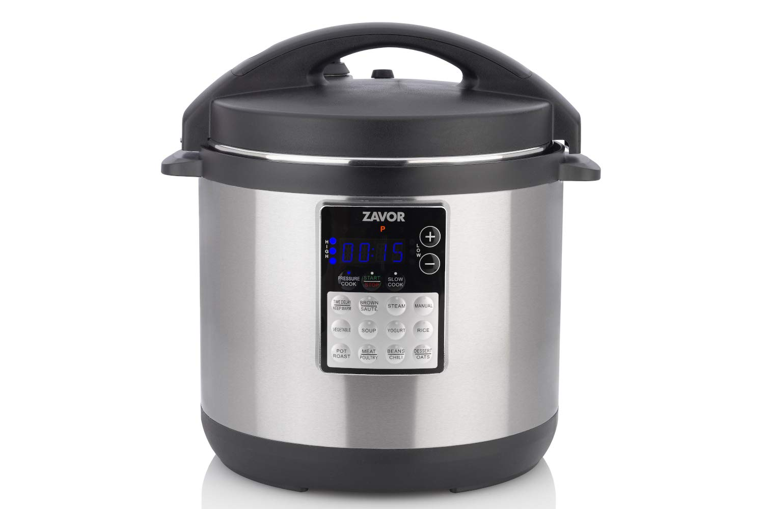 Zavor LUX Edge 6 Quart Programmable Electric Multi-Cooker: Pressure Cooker, Slow Cooker, Rice Cooker, Yogurt Maker, Steamer and more - Stainless Steel (ZSELE02)