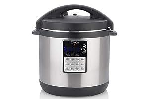Zavor LUX Edge 6 Quart Programmable Electric Multi-Cooker: Pressure Cooker, Slow Cooker, Rice Cooker, Yogurt Maker, Steamer and more - Stainless Steel (ZSELE02)