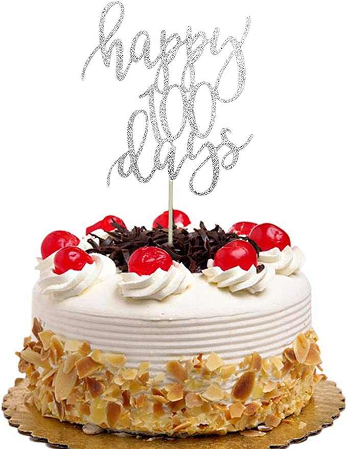 Hemarty 100 Days Cake Topper for 100 Days Birthday Party Birthday Gold Glitter Cupcake and Cake Topper Birthday Party for Baby 2CT