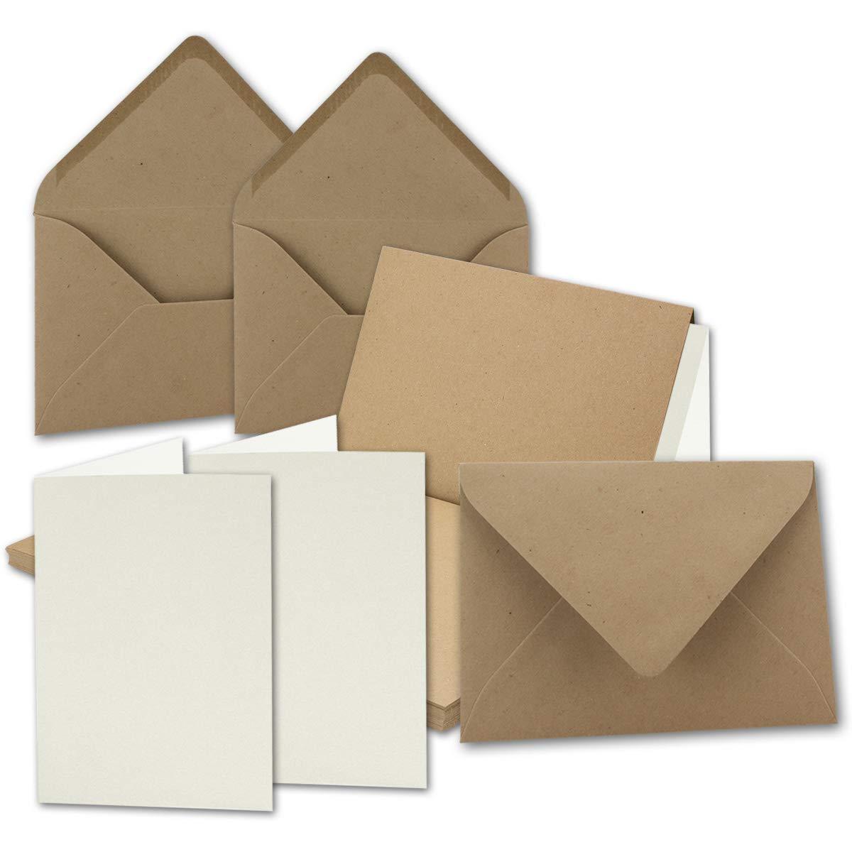 Set di carta da lettere e buste in carta kraft, formato DIN A5, colore sabbia, cartoncini doppi e buste C5 in carta riciclata, stampabili, serie UmWelt 10 Sets DIN A5 mit Umschlag NEUSER