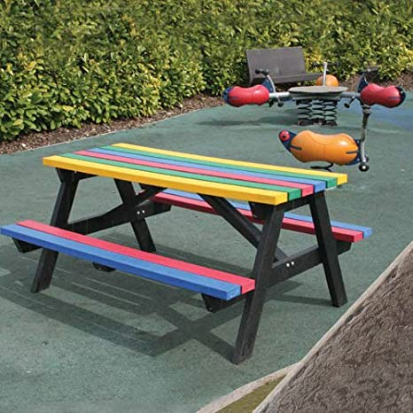 Black No Butts Recycled Plastic Junior Picnic Table