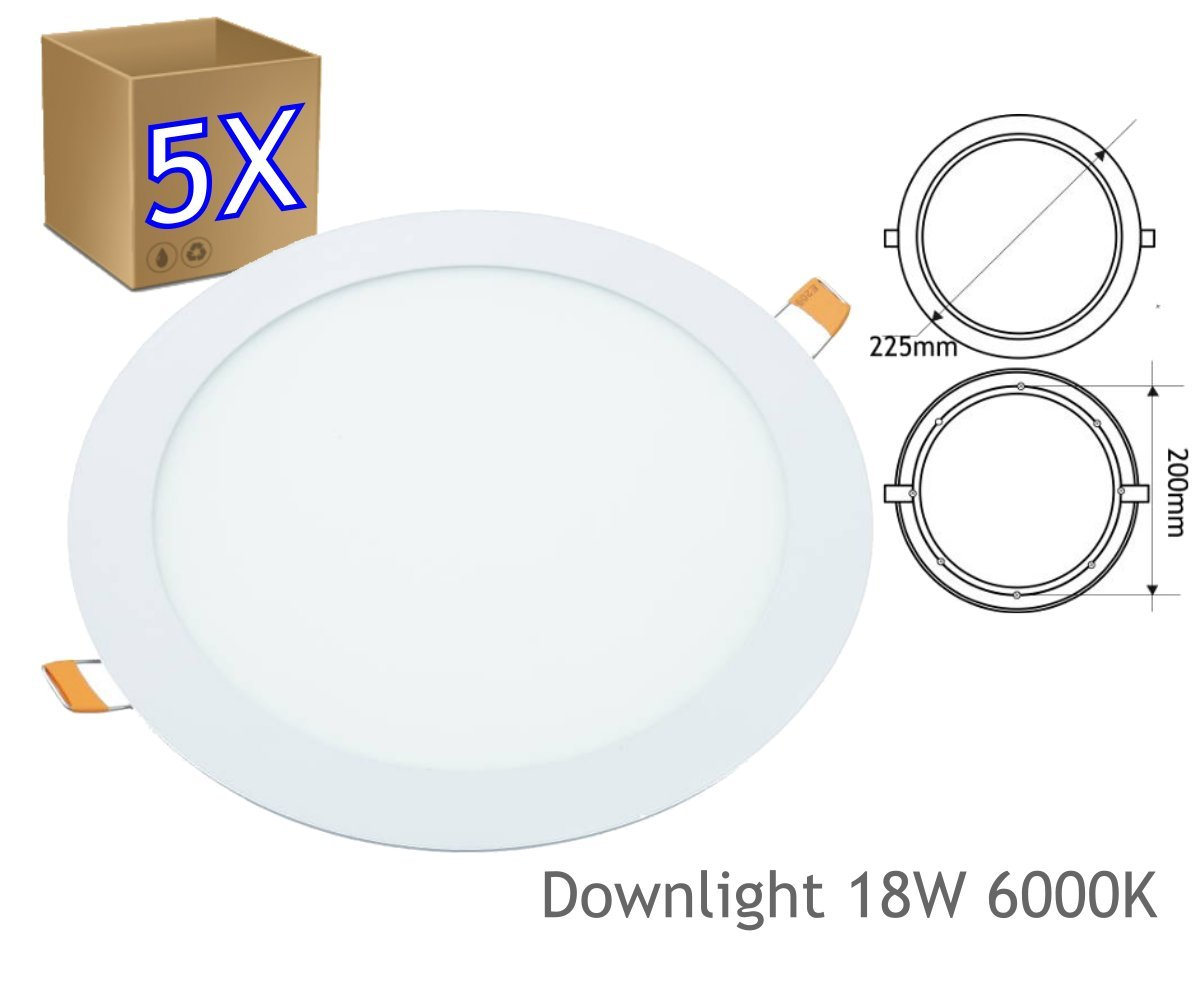 JANDEI - 5 X 18W LED Round Recessed Ceiling Flat Panel Down Light Ø200MM Ultra slim Lamp Cool White 6000k [Energy Class A+]
