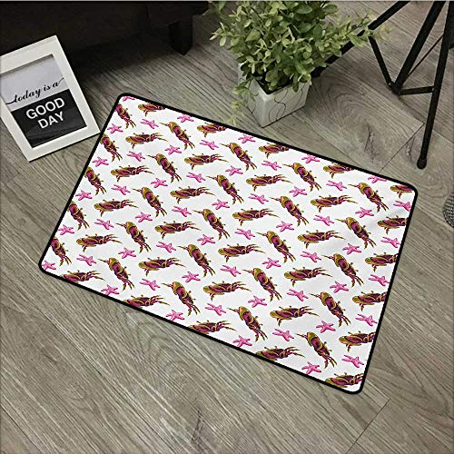 (Outdoor Door mat W24 x L35 INCH Crabs,Illustration of Crabs and Starfish in Cartoon Style Child Design Artwork Print,Pink Olive Green Non-Slip Door Mat Carpet)