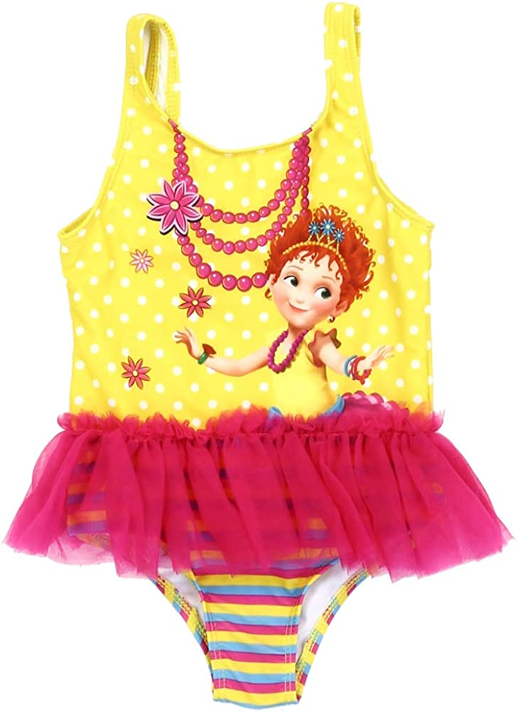 50 Ultraviolet Protection Factor Fancy Nancy Toddler Girls Yellow /& Red Swimsuit w//UPF Wearable Sunblock