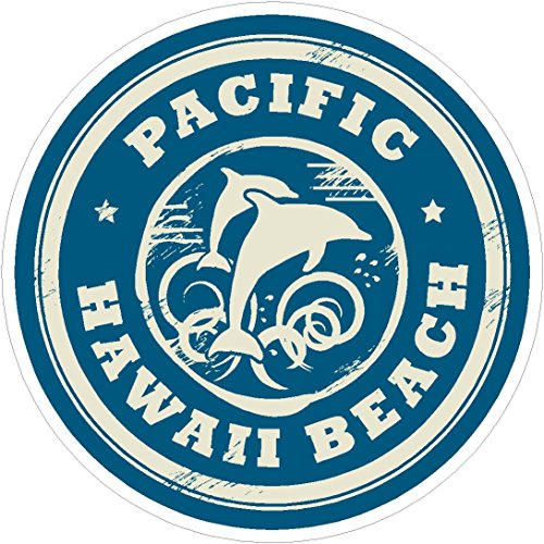 Oval dolphins pacific hawaii beach text 4x4 inches tropical exotic wave island ocean blue sand america united states color sticker state decal vinyl - Made and Shipped in USA