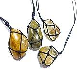Necklace Natural Stone Pendant Wrap Braid