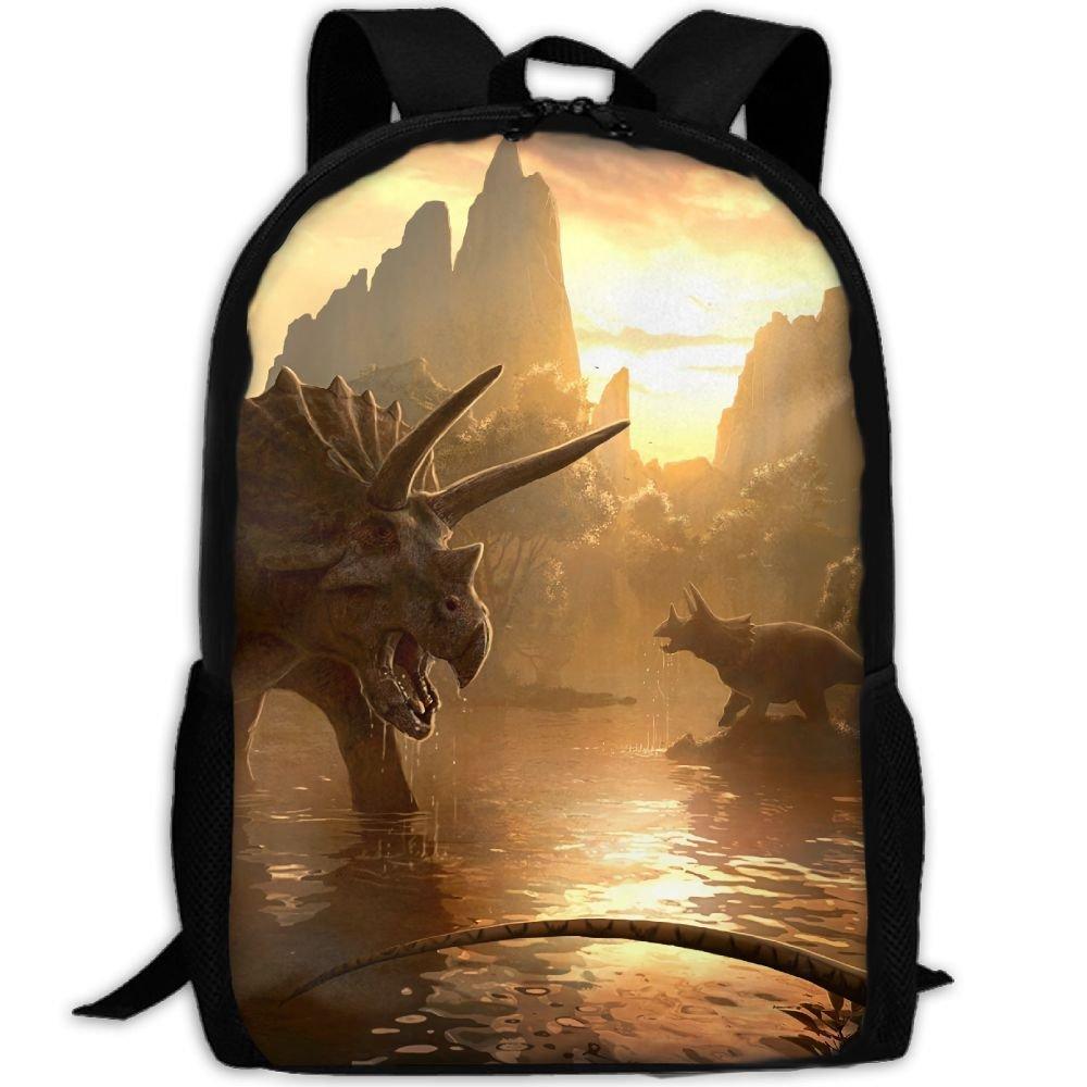 CY-STORE Brachiosaurus Triceratops Animal Dinosaur Outdoor Shoulders Bag Fabric Backpack Multipurpose Daypacks For Adult