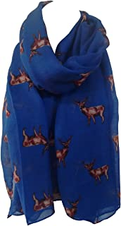 GlamLondon STAGS Print Scarf Big Deer Reindeer Stag Womens Party Gift Christmas Wrap