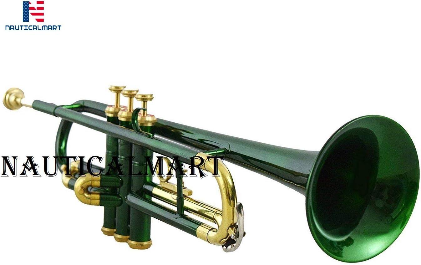 Trompeta de latón lacado verde con estuche: Amazon.es: Instrumentos musicales