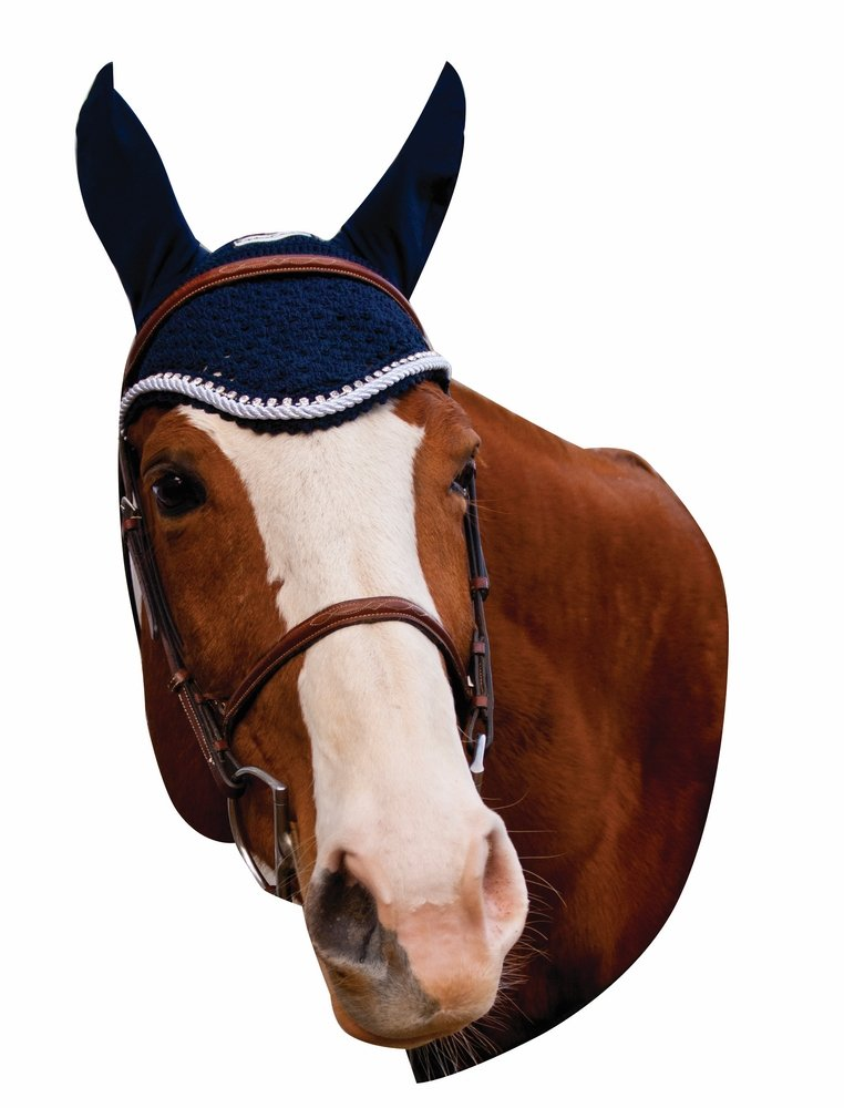 Equine Couture Fly Bonnet with Silver Rope & Crystals - Pony Sizes Available | Color - Navy, Size - Full