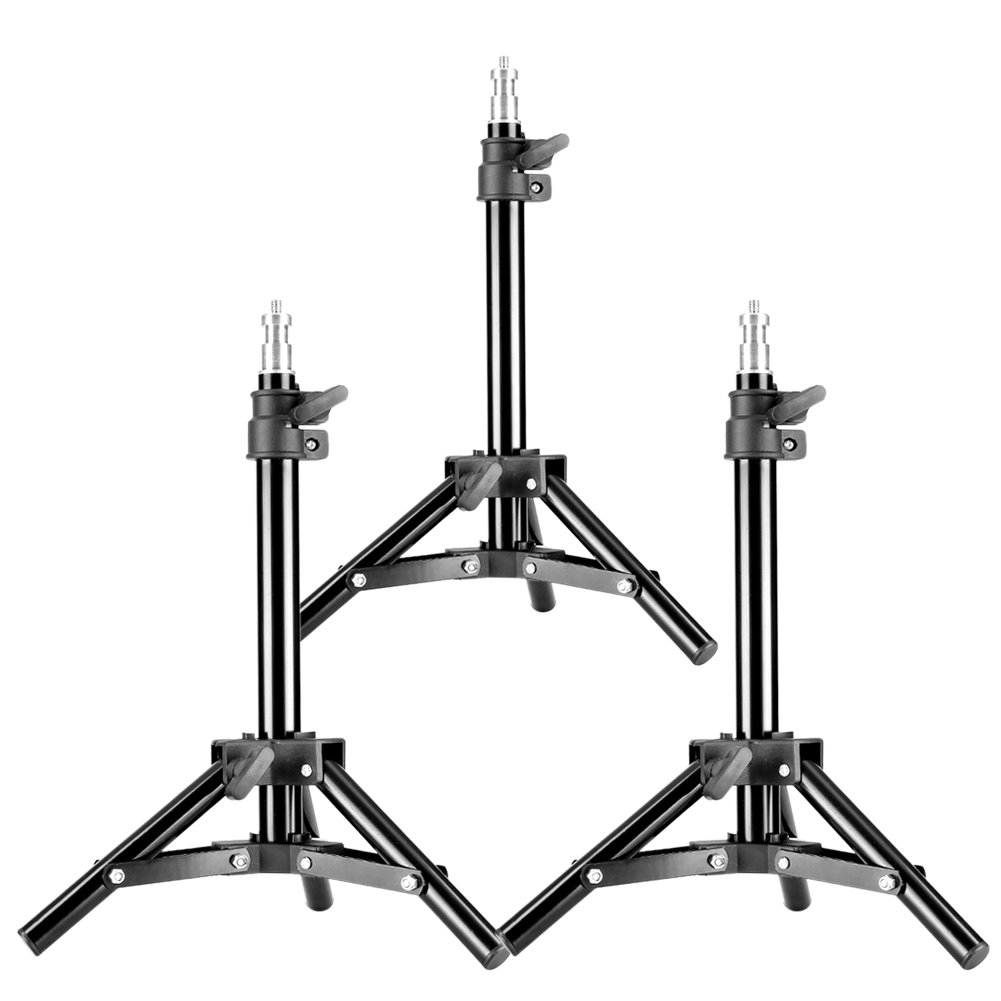 Neewer Set of 3 Mini Aluminum Photography Light Stands with 32''/80cm Max Height for Reflectors, Softboxes, Lights, Umbrellas, Backgrounds (Black)
