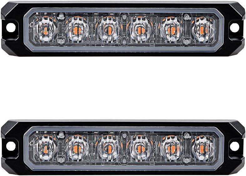 20pcs AMBER 6-LED 30W IP68 Emergency Warning Hazard Surface Mount SYNC Flashing Strobe Light Car Truck 12V-24V