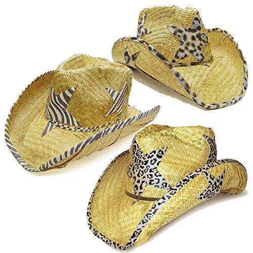 Modestone Value Pack 12 X Light Party Star Animal Print Straw Cowboy Hats Beige by Modestone