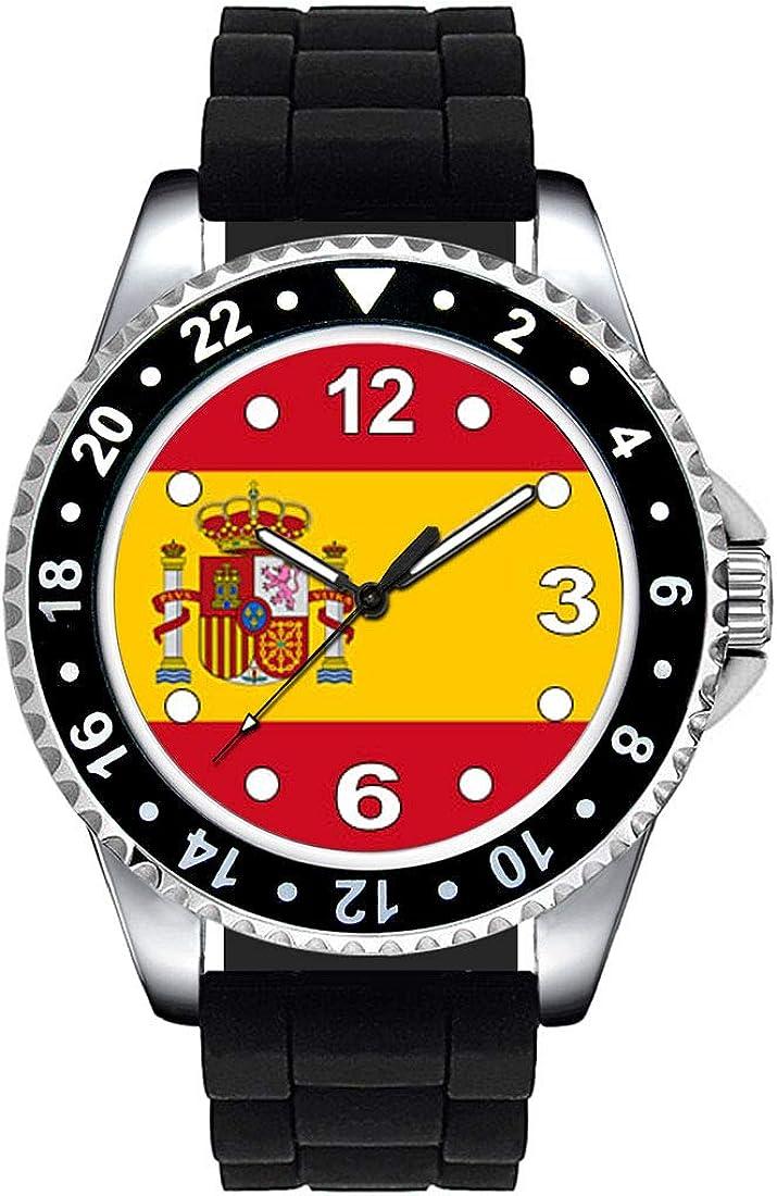 Timest - Bandera de España - Reloj Unisex con Correa de Silicona Negro Analógico Cuarzo SE0533SB: Amazon.es: Relojes
