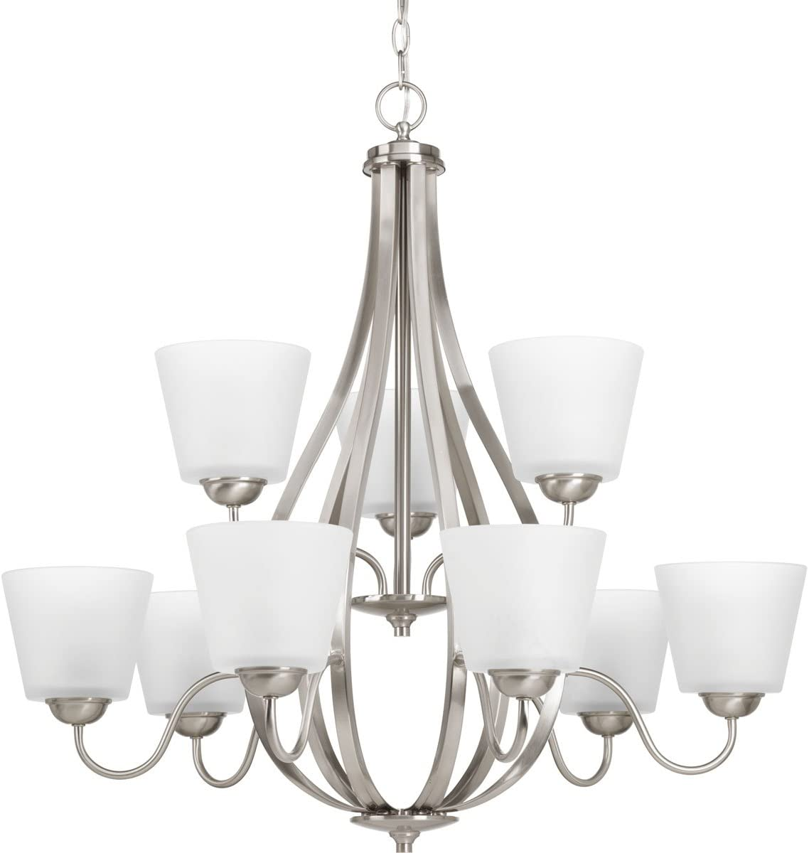 Progress Lighting P4747-09 Transitional Nine Light Chandelier from Arden Collection in Pwt, Nckl, B S, Slvr. Finish, Brushed Nickel