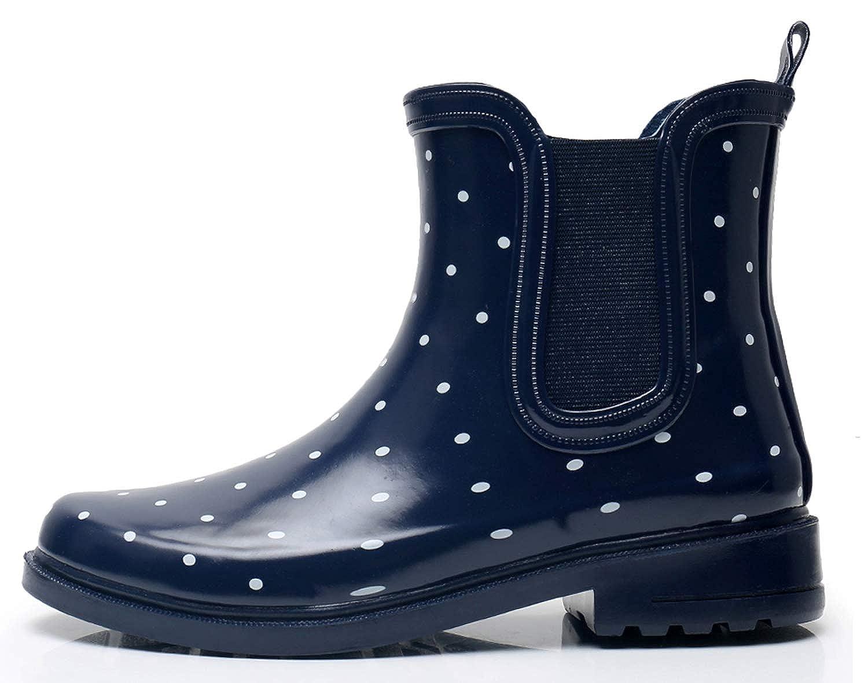 SOLARRAIN Women\u0027s Elastic Short Ankle Rubber Rain Boots Non Slip Waterproof  Insulated Chelsea Rain Shoes