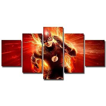 Amazon.com: 5 paneles The Flash Canvas Art barry allen dc ...