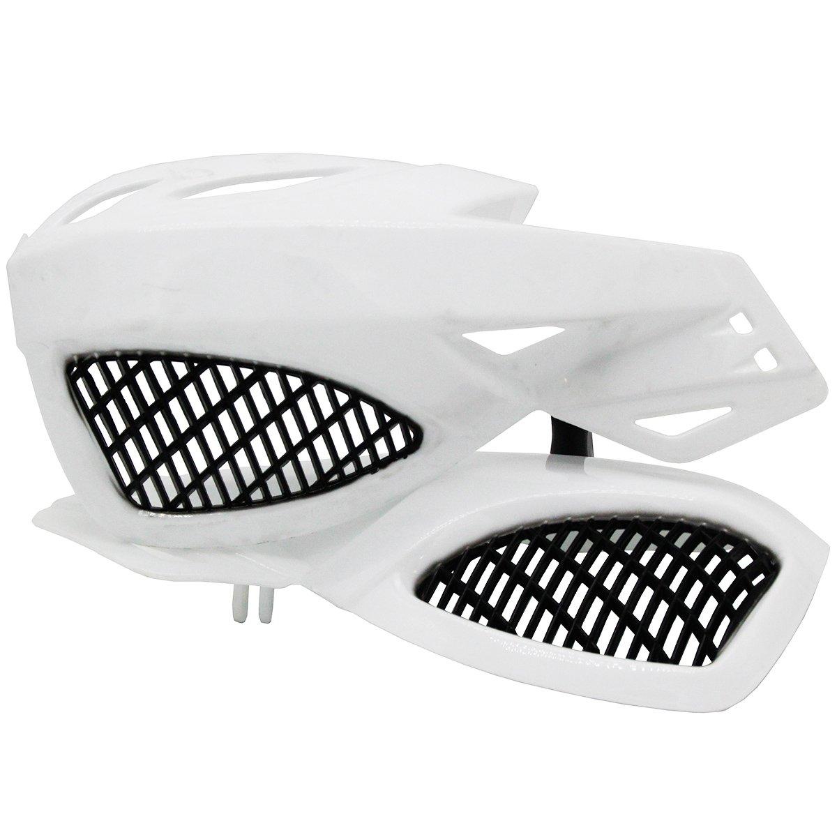 Lozom 7/8'' Motorcycle Handguards Handlebar Hand Guards Brush Bar Protector For Motocross Supermoto Racing Dirt Bike ATV (White)