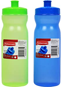 Rubbermaid 24 Ounce Sport Water Bottles Set of 2 (Green & Blue)