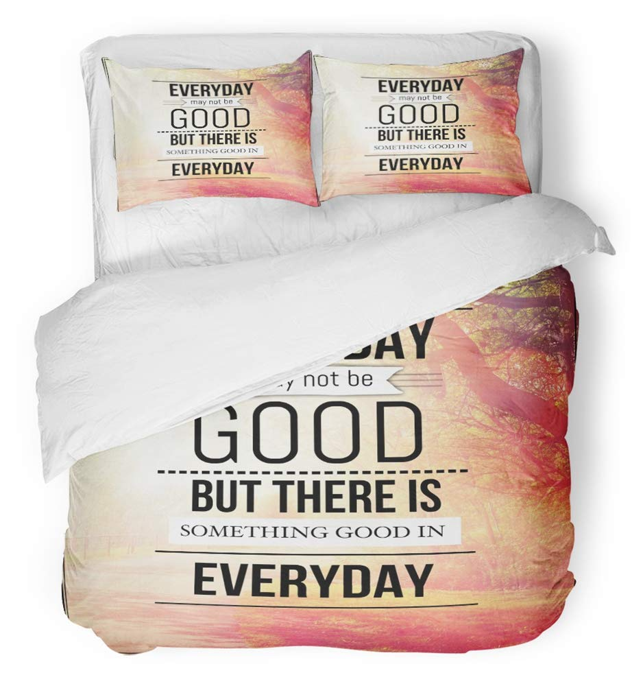 Emvency 3 Piece Duvet Cover Set Breathable Brushed Microfiber Fabric Inspirational Typographic Quote Everyday May Not Be Good But There is Something Bedding Set with 2 Pillow Covers Twin Size