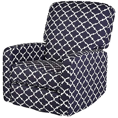 (JC Home Menet Swivel Glide Recliner with Graphic-Print Fabric Upholstery, Navy and White)